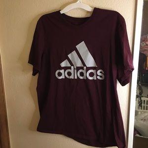Burgundy adidas tshirt